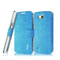 IMAK Slim leather Case holder Holster Cover for Samsung I9260 GALAXY Premier - Blue