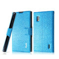IMAK Slim leather Case support Holster Cover for LG E970 - Blue