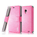 IMAK Slim leather Case support Holster Cover for MEIZU MX2 - Pink