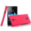 IMAK Ultrathin Matte Color Cover Hard Case for Sony Ericsson LT30p Xperia T - Rose (High transparent screen protector)