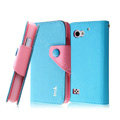 IMAK cross leather case Button holster holder cover for BBK vivo S6 S6T - Blue