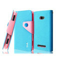 IMAK cross leather case Button holster holder cover for HTC 8S - Blue