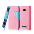 IMAK cross leather case Button holster holder cover for HTC 8S - Pink