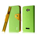 IMAK cross leather case Button holster holder cover for HTC X920e Droid DNA - Green