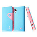 IMAK cross leather case Button holster holder cover for Lenovo S720 - Blue