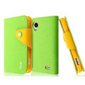 IMAK cross leather case Button holster holder cover for Lenovo S720 - Green