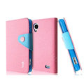 IMAK cross leather case Button holster holder cover for Lenovo S720 - Pink