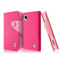 IMAK cross leather case Button holster holder cover for Lenovo S720 - Rose