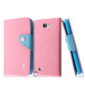 IMAK cross leather case Button holster holder cover for Samsung N7100 GALAXY Note2 - Pink