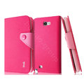 IMAK cross leather case Button holster holder cover for Samsung N7100 GALAXY Note2 - Rose