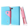IMAK cross leather case Button holster holder cover for iPhone 4G/4S - Blue