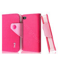IMAK cross leather case Button holster holder cover for iPhone 4G/4S - Rose
