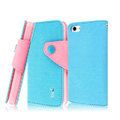 IMAK cross leather case Button holster holder cover for iPhone 5 - Blue