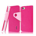 IMAK cross leather case Button holster holder cover for iPhone 5 - Rose