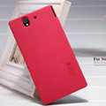 Nillkin Super Matte Hard Case Skin Cover for Sony Ericsson L36i L36h Xperia Z - Red (High transparent screen protector)