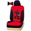 VV Disney Mickey Mouse knitted fabric Custom Auto Car Seat Cover Set - Black Red
