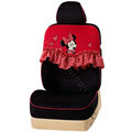 VV Disney Minnie Mouse velvet Custom Auto Car Seat Cover Set - Black Red