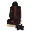 VV strips knitted fabric Custom Auto Car Seat Cover Set - Black
