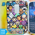 Cartoon Monkey Scrub Hard Skin Cases Covers for Blackberry 9000 - Black