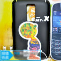 Cartoon Mr.X Pee Scrub Hard Skin Cases Covers for Blackberry 9000 - Black