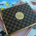 LV Louis Vuitton Grid Leather Case Holster Cover for iPad 2 - Brown