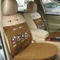 Disney Mickey Minnie Mouse Custom Auto Car Seat Cover Set Suede - Brown