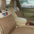 Disney Mickey Mouse Custom Auto Car Seat Cover Set Suede - Beige Brown