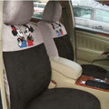 Disney Mickey Mouse Custom Auto Car Seat Cover Set Suede - Coffee