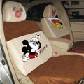 Disney Mickey Mouse Suede Custom Auto Car Seat Cover Set - Beige Brown