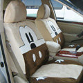 Disney Mickey Mouse head Custom Auto Car Seat Cover Set Suede - Beige Brown