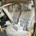 Floral print Bowknot Lace Universal Auto Car Seat Cover Set 21pcs ice silk - Gray