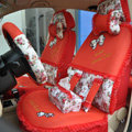 Floral print Bowknot Lace Universal Auto Car Seat Cover Set 21pcs ice silk - Red
