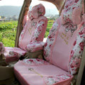 Floral print Lace Bowknot Universal Auto Car Seat Cover Set 21pcs ice silk - Pink