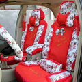 Floral print Lace Bowknot Universal Auto Car Seat Cover Set 21pcs ice silk - Red