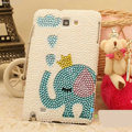 Bling Elephant Crystal Cases Pearls Cover for Samsung GALAXY S4 I9500 SIV - Blue