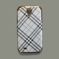 Burberry leather Case Hard Back Cover for Samsung GALAXY S4 I9500 SIV - White