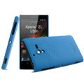 IMAK Cowboy Shell Hard Case Cover for Sony L35h Xperia ZL - Blue (High transparent screen protector)