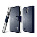 IMAK R64 lines leather Case support Holster Cover for Samsung GALAXY S4 I9500 SIV - Dark blue