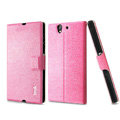 IMAK Slim leather Case support Holster Cover for Sony Ericsson L36i L36h Xperia Z - Pink