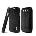 IMAK Squirrel lines leather Case support Holster Cover for Samsung i939D GALAXY SIII - Black