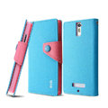 IMAK cross leather case Button holster holder cover for OPPO X909 Find 5 - Blue