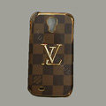 LOUIS VUITTON LV Classic plaid leather Case Hard Back Cover for Samsung GALAXY S4 I9500 SIV - Brown
