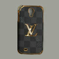 LOUIS VUITTON LV Classic plaid leather Case Hard Back Cover for Samsung GALAXY S4 I9500 SIV - Gray