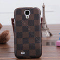LV LOUIS VUITTON Classic plaid leather Case Hard Back Cover for Samsung GALAXY S4 I9500 SIV - Brown