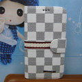 LV LOUIS VUITTON Classic plaid leather case Holster cover for Samsung GALAXY S4 I9500 SIV - White