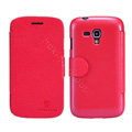 Nillkin Fresh leather Case Bracket Holster Cover Skin for Samsung i8262D GALAXY Dous - Red