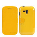 Nillkin Fresh leather Case Bracket Holster Cover Skin for Samsung i8262D GALAXY Dous - Yellow