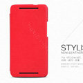 Nillkin leather Case Holster Cover Skin for HTC One M7 801e - Red (High transparent screen protector)