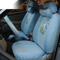 OULILAI Hello Kitty Universal Auto Car Seat Cover Set 19pcs ice silk - Blue