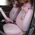 OULILAI Hello Kitty Universal Auto Car Seat Cover Set 19pcs ice silk - Pink